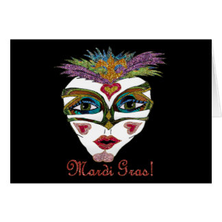 Colorful Mardi Gras Glitter Feather Mask Greeting Card
