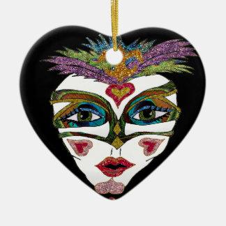 Colorful Mardi Gras Glitter Feather Mask Ceramic Ornament