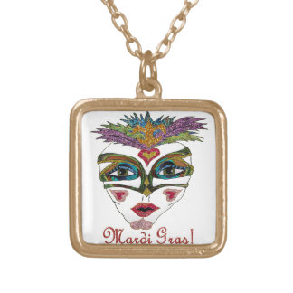 Colorful Mardi Gras Glitter Feather Mask Gold Plated Necklace