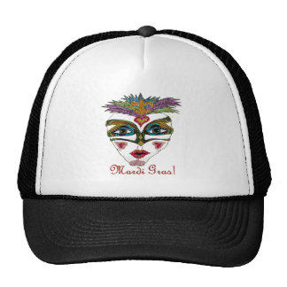 Colorful Mardi Gras Glitter Feather Mask Hat