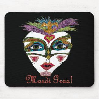 Colorful Mardi Gras Glitter Feather Mask Mousepads
