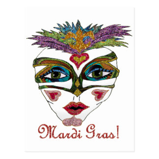 Colorful Mardi Gras Glitter Feather Mask Postcard