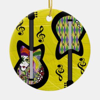 Colorful Mardi Gras Guitars Ceramic Ornament