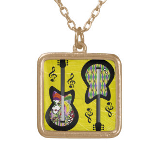 Colorful Mardi Gras Guitars Gold Plated Necklace