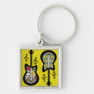 Colorful Mardi Gras Guitars Silver-Colored Square Keychain