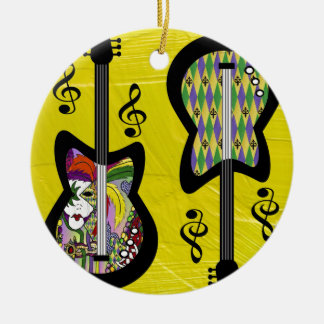 Colorful Mardi Gras Guitars Double-Sided Ceramic Round Christmas Ornament