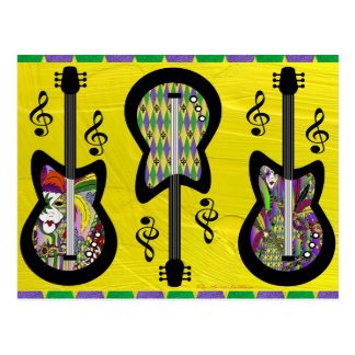 Colorful Mardi Gras Guitars Postcard