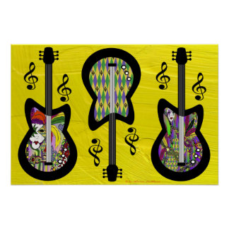 Colorful Mardi Gras Guitars Poster