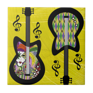 Colorful Mardi Gras Guitars Small Square Tile