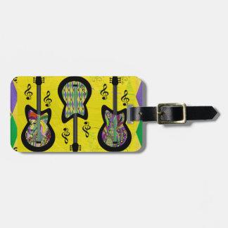 Colorful Mardi Gras Guitars Travel Bag Tags
