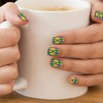 Colorful Mardi Gras Harlequin Fleur De Lis Minx Nail Wraps