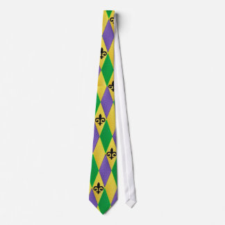 Colorful Mardi Gras Harlequin Fleur De Lis Tie