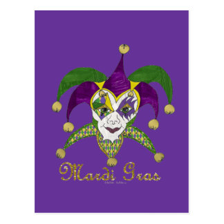 Colorful Mardi Gras Jesters Mask Postcard