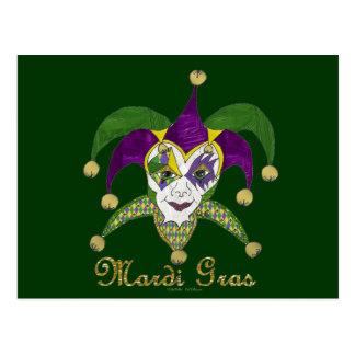 Colorful Mardi Gras Jesters Mask Postcard