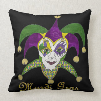 Colorful Mardi Gras Jesters Mask Throw Pillow