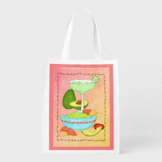 Colorful Margarita Guacamole Coral Reusable Grocery Bags