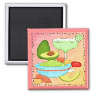 Colorful Margarita Guacamole Fun Celebrate 2 Inch Square Magnet