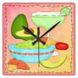 Colorful Margarita Guacamole Fun Celebrate Square Wallclock