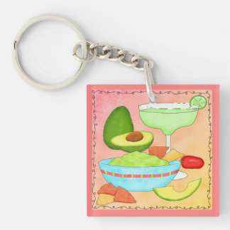 Colorful Margarita Guacamole Fun Celebrate Double-Sided Square Acrylic Keychain