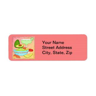 Colorful Margarita Guacamole Fun Celebrate Return Address Label