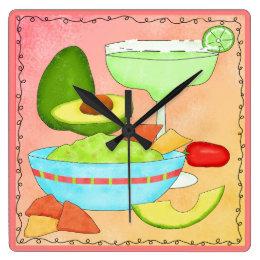 Colorful Margarita Guacamole Fun Celebrate Square Wall Clock