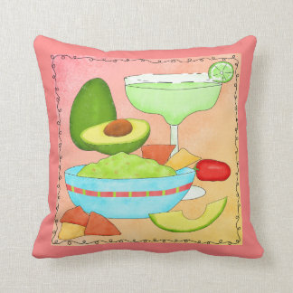 Colorful Margarita Guacamole Fun Celebrate Throw Pillow