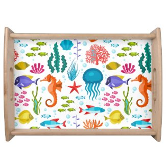 Colorful marine animals illustration service tray
