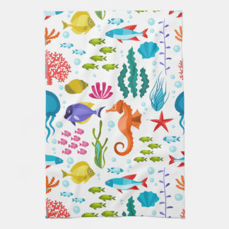 Colorful marine animals pattern kitchen towels