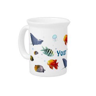 Colorful Marine Creatures Beverage Pitcher