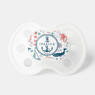 Colorful Marine Life & Nautical Boat Anchor Pacifier