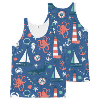 Colorful Marine Life With Nautical Symbols All-Over-Print Tank Top