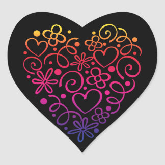 Colorful markered hearts pattern heart sticker