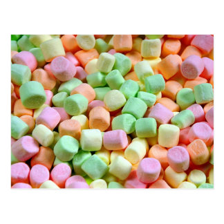 Colorful marshmallows postcard