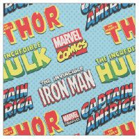 Colorful Marvel Comics Title Pattern Fabric