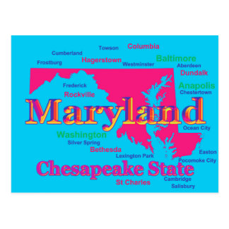 Colorful Maryland State Pride Map Silhouette Postcard