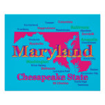 Colorful Maryland State Pride Map Silhouette Posters