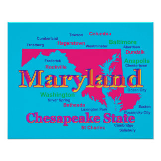 Colorful Maryland State Pride Map Silhouette Poster