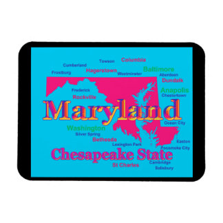 Colorful Maryland State Pride Map Silhouette Magnets