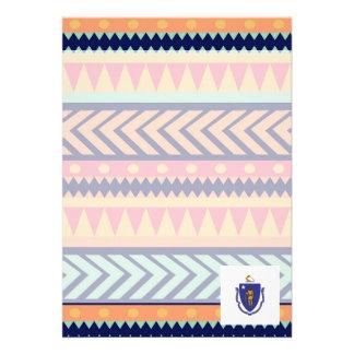 "Colorful Massachusetts Flag Box 5"" X 7"" Invitation Card"