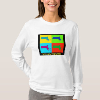Colorful Massachusetts Pop Art Map T-Shirt
