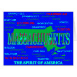 Colorful Massachusetts State Pride Map Silhouette Card