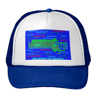 Colorful Massachusetts State Pride Map Silhouette Hats