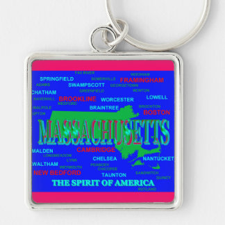 Colorful Massachusetts State Pride Map Silhouette Key Chain