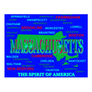 Colorful Massachusetts State Pride Map Silhouette Postcard