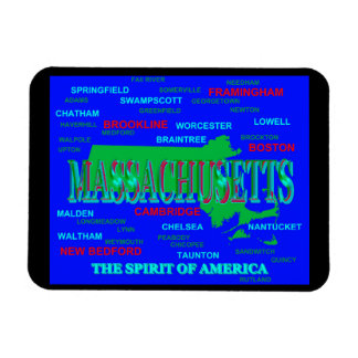 Colorful Massachusetts State Pride Map Silhouette Vinyl Magnets