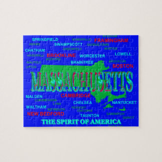 Colorful Massachusetts State Pride Map Silhouette Puzzle