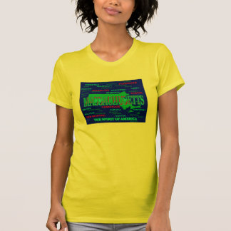 Colorful Massachusetts State Pride Map Silhouette T-Shirt