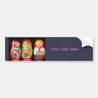 Colorful Matryoshka Dolls Bumper Sticker