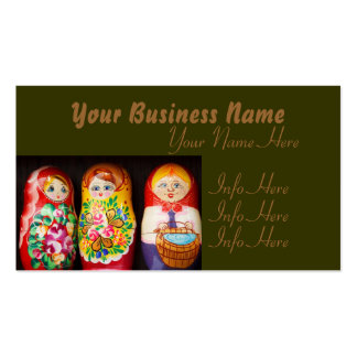 Colorful Matryoshka Dolls Business Card Template