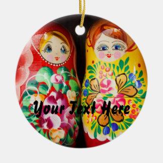 Colorful Matryoshka Dolls Double-Sided Ceramic Round Christmas Ornament